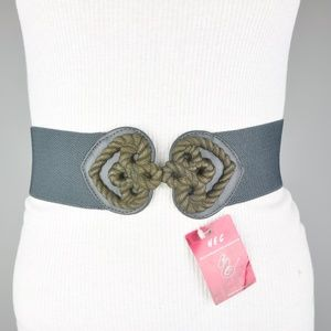 HEC Gray Wide Stretch Double Heart Faux Leather Be